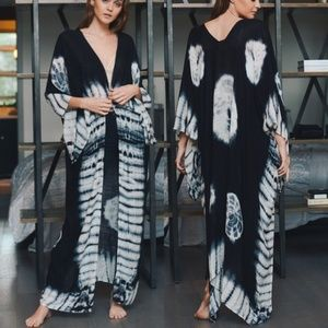 2a9579a4fb331 Accessories - Kimono tie dye wrap cover up long BLACK